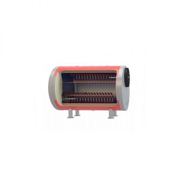 Boiler λεβητοστασίου MasterSol BLH2 1500 λίτρα τριπλής ενέργειας - οριζόντιο (με 2 αποσπώμενους εναλλάκτες)